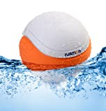 Ivation Waterproof Bluetooth Swimming Pool Floating Speaker - Music Amplifier Ball - With Cool Mood Lighting. Great for Pool and Bath - White