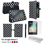 Foxnovo 3-in-1 Dots Pattern PU Protective Case & Screen Protector & Stylus Pen Set for Google Nexus 7 Tablet PC (Black)