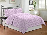 Bombay Dyeing Cardinal Cotton Double One bedsheet and Two Pillow cover Pink