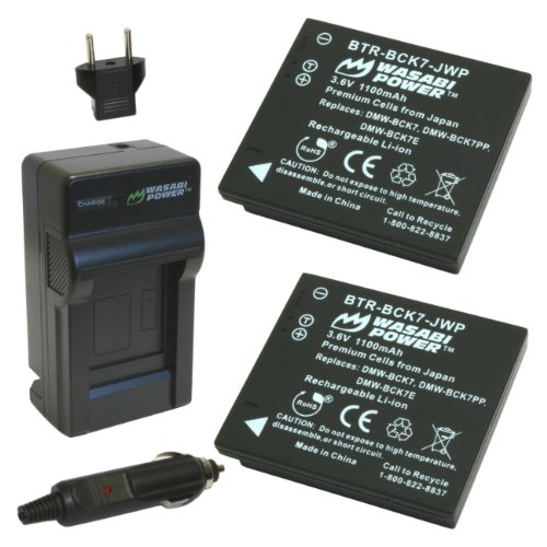 Wasabi Power Battery (2-Pack) and Charger for Panasonic DMW-BCK7 - NCA-YN101G - DE-A91 - DE-A92 and Panasonic Lumix