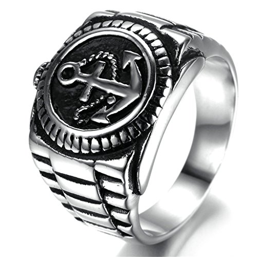 Stainless Steel Ring for Men, Anchor Ring Gothic Black Band Silver Band 18*20MM Size 11 Epinki (Oster 74 compare prices)