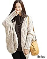 Womens Mode lache Casual Pull manches chauve-souris Cardigan