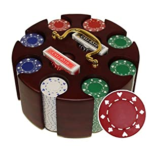 200 Ct Suited 11.5 Gram Poker Chip Set in Wooden Carousel