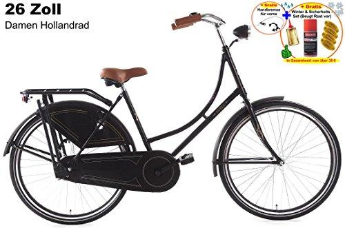 Damen Hollandrad 26 Zoll Altec London schwarz + gratis Handbremse & Winterset