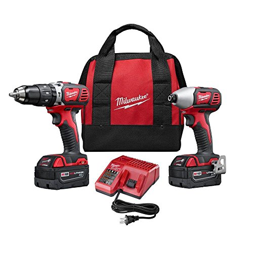 Milwaukee 2697-22 M18 18-Volt Lithium-Ion Cordless Hammer Drill/Impact Driver XC Combo Kit (2-Tool) (Milwaukee 18v Drill Driver compare prices)