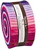 "Lunn Studios PRISMA DYES PLUM PERFECT BATIKS Roll Up 2.5"" Precut Cotton Fabric Quilting Strips Jelly Roll Assortment Robert Kaufman RU-371-40"