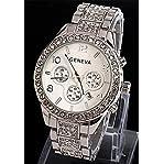 Viliysun New Geneva Chronograph Look Woman Dress Calendar Watch with Crystals Gold Tone Metal Lin...