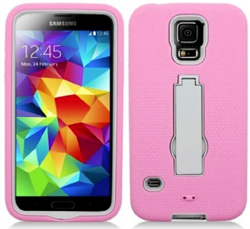Mylife Light Bubblegum Pink And Gray - Shock Suit Survivor Series (Built In Kickstand + Easy Grip Silicone) 3 Piece + 2 Layer Case For New Galaxy S5 (5G) Smartphone By Samsung (External Flex Silicone Bumper Gel + Internal 2 Piece Rubberized Snap Fitted Ar