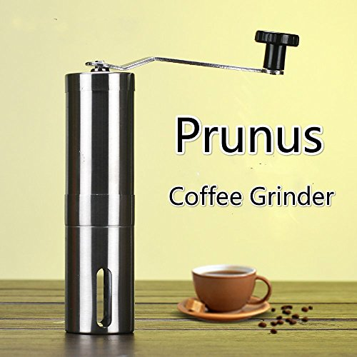 Manual Coffee Grinder Portable Slim Ceramic Burr Spice Mill,Precise Stainless Steel Coffee Grinder for Perfect Fresh Coffee. Consistent Grind-Convenient for Work / Camping / Outdoors by PRUNUS®