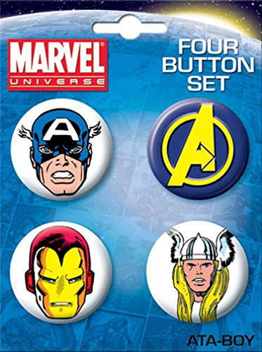 Ata-Boy Marvel Comics Avengers 4 Button Set - 1