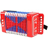 Mini Musician Pro Toy Accordion Children's Instrument w/ 7 Treble Keys, 3 Air Valves, Hand Strap (Red)