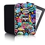 'RETRO CAMPERVAN' Black PPW Case for AMAZON KINDLE 4 & 5 (2012, 2013, 2014) Tablet - Shock and Water Resistant Neoprene Pouch Cover Protector - Fast Ship - UK