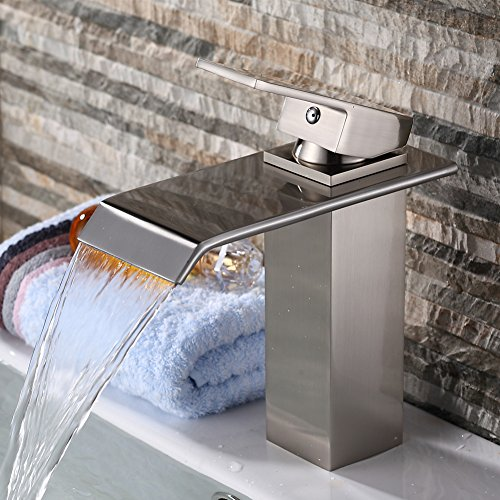 Yodel Single Handle Waterfall Bathroom Vanity Sink Faucet Brushed Nickel 799599218766
