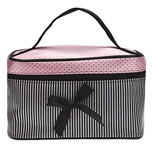 Hatop Fashionable Women Square Bow Stripe Cosmetic Bag Travel Bags Makeup Bag (Black)