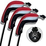 Andux ゴルフ ハイブリッド クラブヘッドカバー 交換可能な番号タグ付き3 個セット