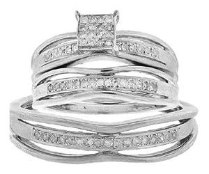 Pricegems 14K White Gold Couples Round Brilliant Diamond Pave Set Trio Set (0.3 cttw, H-I Color, I1/I2 Clarity, Ring Size: 5.25)