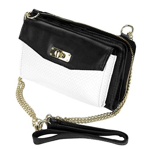 VanGoddy Venice Decor Design anteriore da sposa sera pochette borsetta Tote spalla borsa donna a pieghe (Nero / Bianca)
