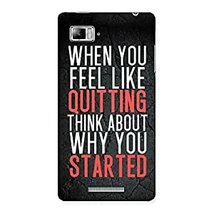 Enticing Think Why You Start Back Case Cover for Lenovo Vibe Z K910