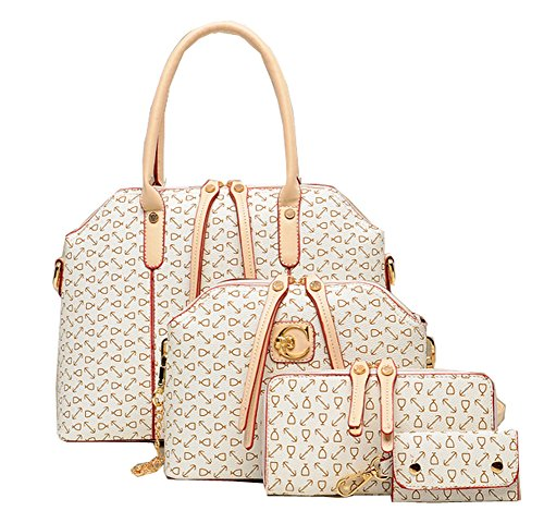 Learn More About Women 4Pcs Pu Leather Printing Messenger Bag Purse Shoulder Handbag Set