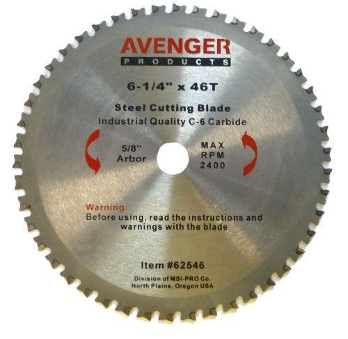 Avenger Av-62546 Steel Cutting Saw Blade, 6-1/4-Inch By 46 Tooth, 5/8-Inch Arbor, C-6, Tcg front-94173