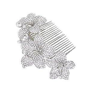 Silver-Tone Bridal 3 Orchid Flower Clear Austrian Crystal Hair Comb N00208-1 N00208-1