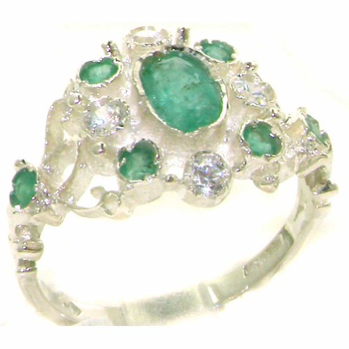 Solid 9K White Gold Womens Emerald & Diamond Vintage Cluster Ring - Size 11.25 - Finger Sizes 4 To 12 Available - Suitable As An Anniversary Ring, Engagement Ring, Eternity Ring, Or Promise Ring