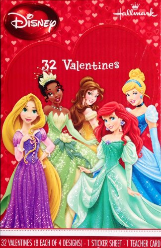 Disney Princess Valentines (32) with Sticker Sheet