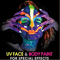 UV Glow Neon Face and Body Paint 10ml - Set of 6 Tubes by Splashes & Spills