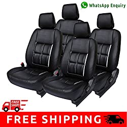 Autofact Brand (Economical Range) PU Leatherite Car Seat Covers for Maruti Car 800 Old Model in Full Black Box Design