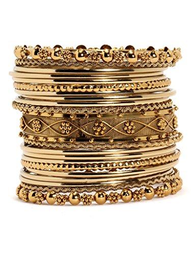 Bindhani Traditional Wedding Gold-Plated Bangle Set For Women (Mehandi, 2-6)