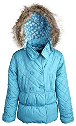 Dollhouse Baby Girls Down Alternative Warm Hooded Winter Puffer Bubble Coat - Turquoise (18 Months)