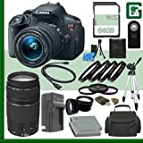Canon EOS Rebel T5i Digital SLR Camera Kit with 18-55mm STM Lens and Canon EF 75-300mm III Lens + 64GB Green's Camera Package 2