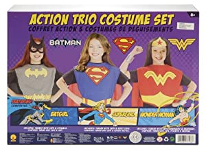 DC Superhero Trio Batgirl & Supergirl & Wonder Woman Costume Set Child
