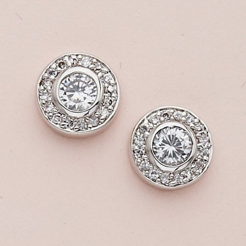 Rhodium-plated Cubic Zirconia Earrings