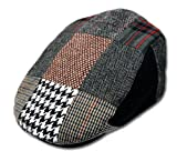 Men's Patchwork Wool Duckbill Ivy Newsboy Caby Irish Tweed Cap Hat Large, Black