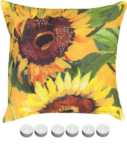 "Manual Woodworkers Slsnfl Sunflower 18"" X 18"" Climaweave Outdoor / Indoor Pillow With 6-Pack Of Tea Candles"