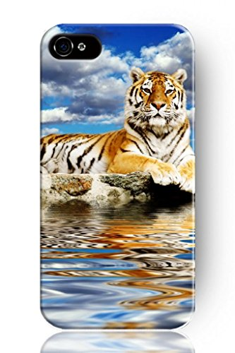 Sprawl New Fashion Design Hard Skin Case Cover Shell For Mobile Phone Apple Iphone 5 5S--Meditation Tiger Near River front-1010699