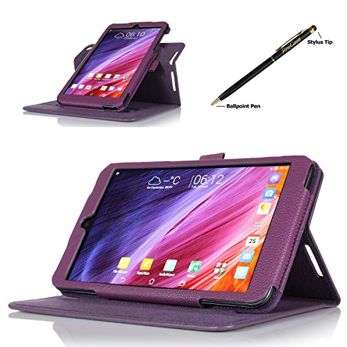 ProCase 2014 ASUS MeMO Pad 8 (ME181C) Dual View Case (horizontal and vertical display) - Rotating Cover Case with Stand exclusive for 2014 version ASUS MeMO Pad 8 (ME181C) Tablet, with bonus procase Stylus Pen (Purple)