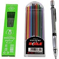 Baile Set of Mechanical Lead Pencil + 12 Black Leads + 12 Color Leads