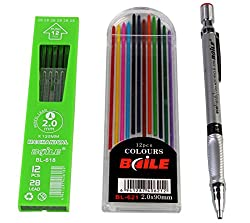 Baile Set of Mechanical Lead Pencil + 12 Black Leads + 12 Color Leads