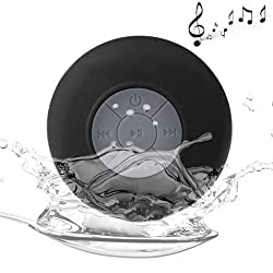 PRAVARA Waterproof Bluetooth Speaker || Handsfree Portable Rechargeable Speakerphone with Built-in Mic, Control Buttons and Dedicated Suction Cup for Showers, Bathroom, Pool, Boat, Car, Beach, & Outdoor Use - Black
