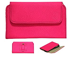 Jo Jo A4 G8 Belt Case Mobile Leather Carry Pouch Holder Cover Clip For Videocon A24 Exotic Pink