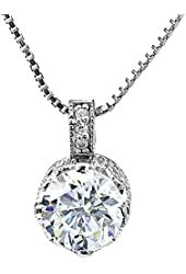 Sterling Silver Round Pave Cubic Zirconia Heart Shape Pendant Necklace 18 Inches Silver Chain SPJ