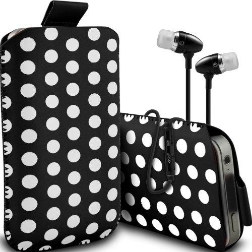 ( Black + Earphone ) Sony Xperia E3 Dual Sim Protective Stylish Fitted Faux Leder Polka Dot Lasche Tasche Skin Case Cover mit Premium Qualität in Ear Buds Stereo Freisprecheinrichtung Headset mit integriertem Mikrofon Mic und On-Off -Button von ONX3