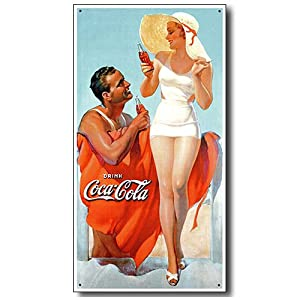 Coke Man & Woman Beach Tin Sign , 9x16