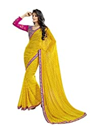 Ethnic Saree Adorable Yellow Colored Chiffon Saree By Triveni