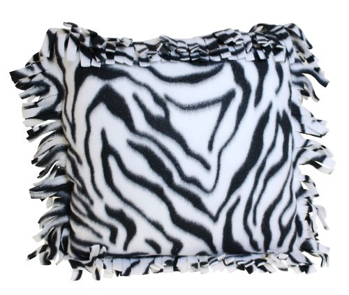 Haan Crafts Alpine Fleece Fringed Pillow Sewing Kit, 14-Inch, Zebra front-944067