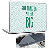 You Think BIG, You Get BIG Blue Lines Inspirational Motivational Quote Laptop Skin And Keyboard Protector -15.6...