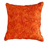"That's Perfect! Concentric Flowers Decorative Silk Throw Pillow Sham - Fits 16"" x 16"" Insert (Orange)"