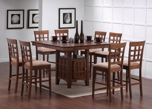 Buy Low Price Coaster 9pcs Walnut Counter Height Dining Table with Lazy Susan & 8 Stools Set (VF_Dinset-101438-101209)